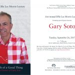 Gary Soto to Speak at San Francisco Main Library Sept. 26th